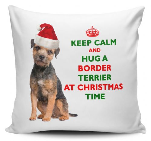 Christmas Keep Calm And Hug A Border Terrier Novelty Cushion Cover